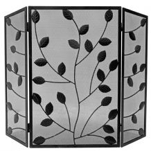 Black 3 Fold with Leaves Fireguard